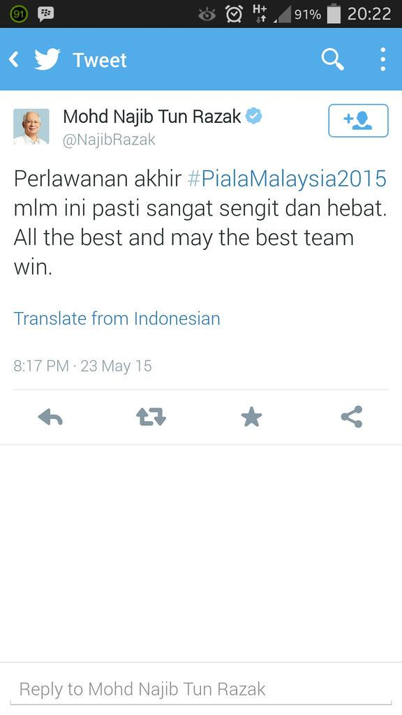Harap whassap PM bagi tau. Malam ni Piala FA bukan Piala Malaysia @Khairykj http://t.co/XgBzZEUgKA