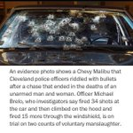 This was the car after it was riddled with bullets by cops. The victims were both unarmed. #MichaelBrelo http://t.co/y4PFud1kLt