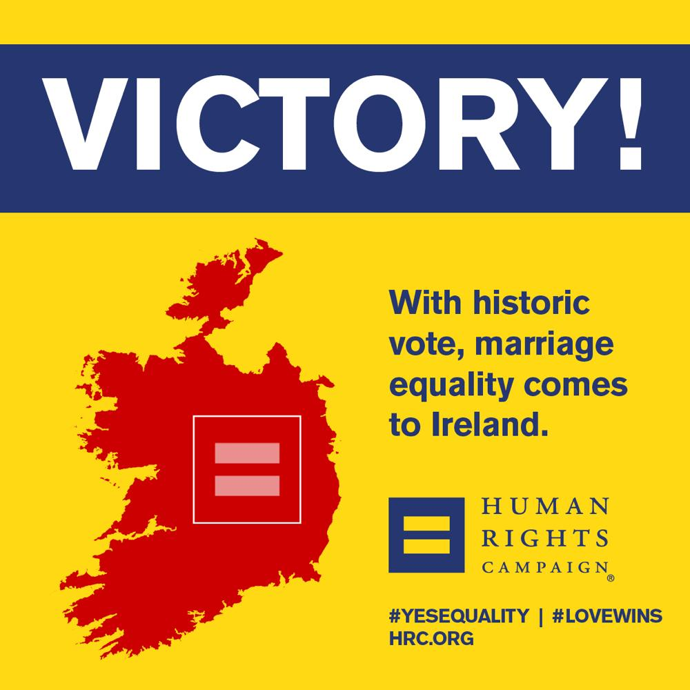 BREAKING: Victory for #MarriageEquality in Ireland #LoveWins #EqualityForward #marref http://t.co/KvOsBFSkl5 via @HRC http://t.co/zUcyrc6MYT
