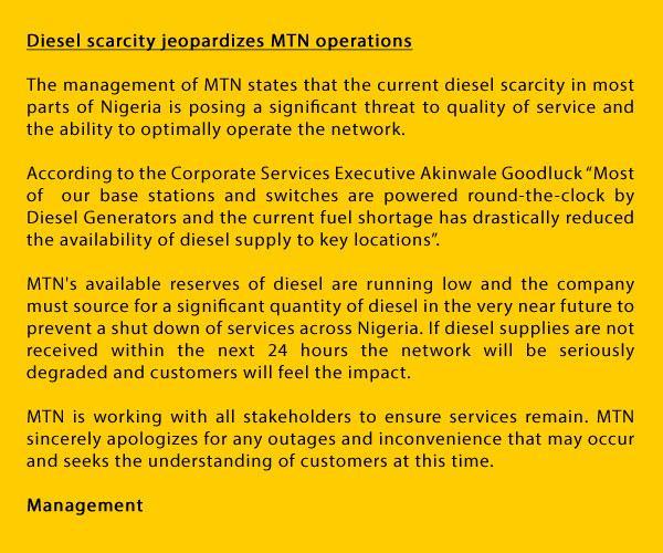 Diesel scarcity jeopardizes MTN operations http://t.co/CfglElvngm