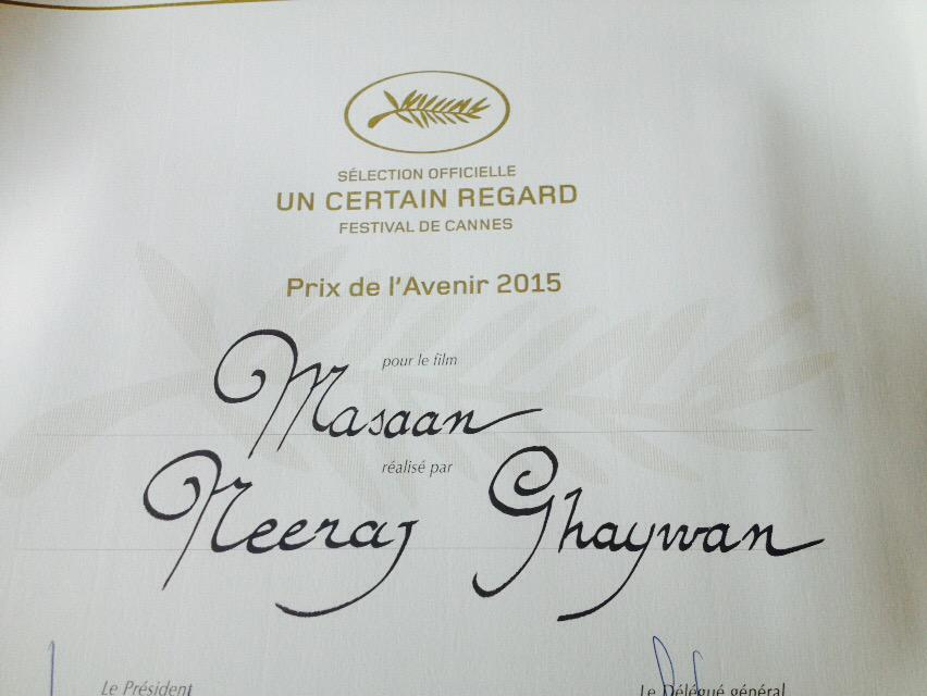 2nd award for India!! #MASAAN MOST PROMISING NEW COMER! See @anuragkashyap72 what your mentorship has got me to! http://t.co/ToQ7IQjzrw