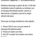 MÁXIMA DIFUSIÓN: Mañana vamos a hacer tendencia en España #OviedoAmarillo ¿Te apuntas? http://t.co/SW7BenNlUk