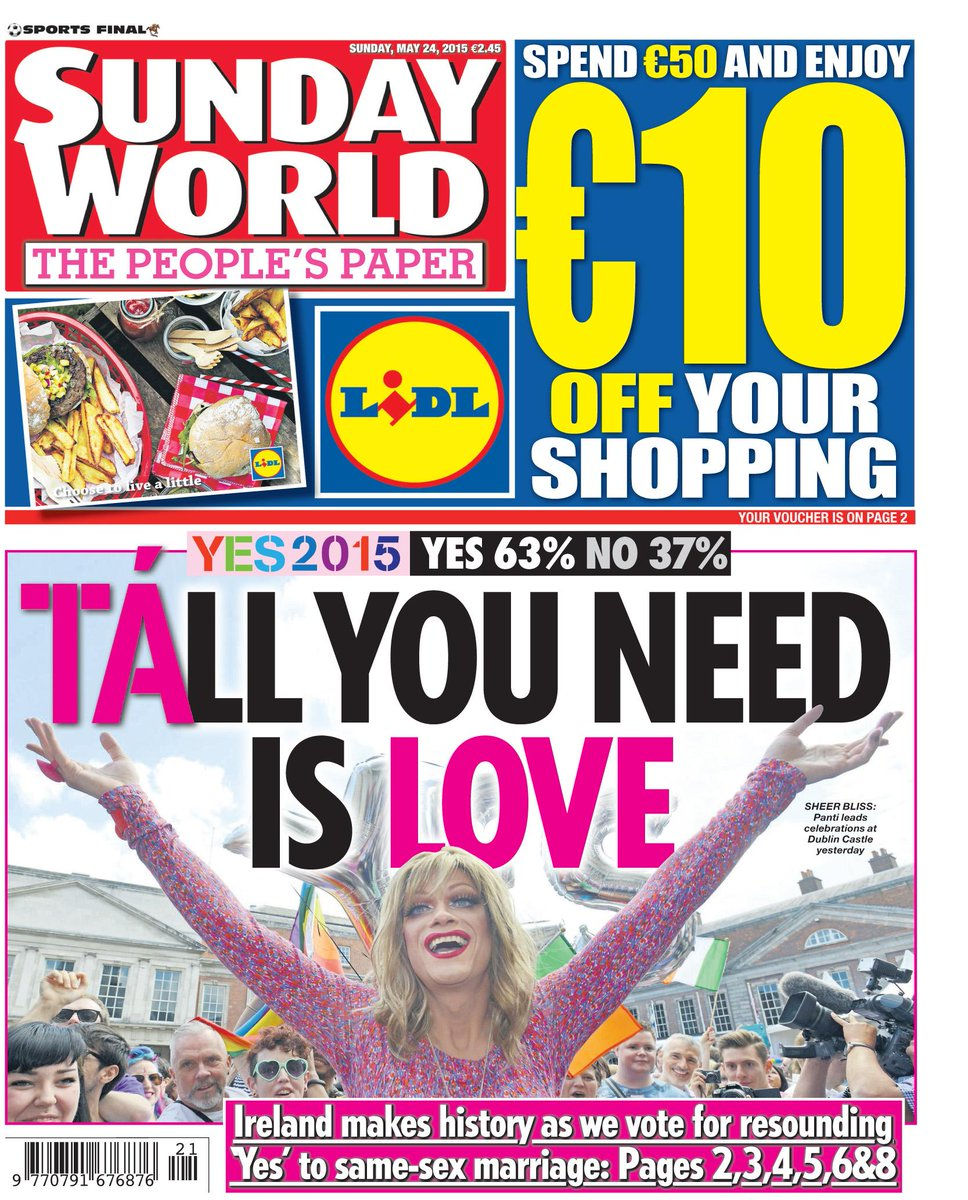 Tomorrow's front page: TÁLL YOU NEED IS LOVE http://t.co/Ih1povHJUv