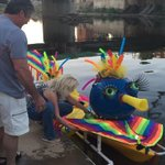 This boat is so colorful and fun! Almost time for the illuminated art boat parade! #creekfire http://t.co/UR0vyFYupo
