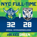 NYC FULL-TIME: The #Raiders have defeated the @NRL_Bulldogs 32-28 at @giostadium #NYCRaidersBulldogs #BleedGreen http://t.co/eLY8KsiRom