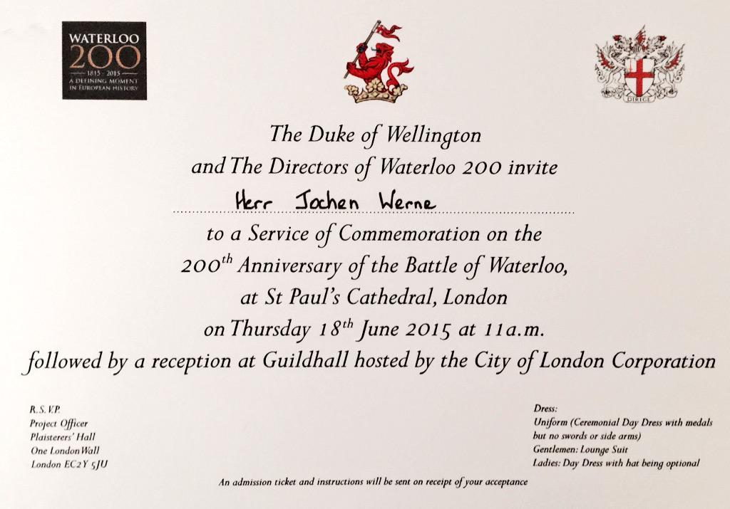 The #DukeofWellington & @Waterloo200org invited @GOSTest1999 to the #Waterloo #Commemoration Service @StPaulsLondon http://t.co/bzaKyHoArP