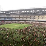Great to see so many fans enjoying kick-to-kick! Did you manage to snag a goal? #AFLDonsLions http://t.co/1bMuEV855f