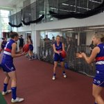 Warm up in full swing, with less than an hour until #AFLWomensGame http://t.co/hHSfxm3DIm