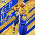 Last night, @StephenCurry30 (64 & counting) passed @ReggieMillerTNT (58) for most 3s in a postseason! http://t.co/bhdDa3VdrV