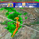 Line of storms tracking east. Capable of producing heavy rain and hail. http://t.co/ts4zekzV3i