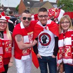 Were on our way to #Wembley! #Swindon Town fans gather at The County Ground ready for the big day. #COYR #STFC http://t.co/6wK6JcRm28