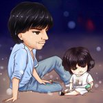 @iamsrk mashaAllah for Animated adorable pic our Lil Angel Abram khan and my Shah ...aww so sweet muaahhhhh http://t.co/HmhfGUp45i