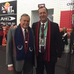 Ron Barassi and Glen Bartlett were very happy to watch wins in both the womens and mens games today! http://t.co/KMJiSnj2ts