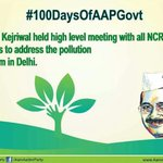 AAP govt is serious about bringing down the pollution level in the capital Need your cooperation #100DaysOfGovernance http://t.co/tpIbW41E9c