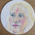 Love my beer mat portrait by @EllieYoungArt raising money for @theboatstudio @chaptertweets today. Its uncanny! http://t.co/uBOgBLT8jR