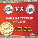 Watch the #IPLFinal with us and support your team! P.S. Deal applicable only in #Mumbai, 7:30 pm to 11:30 pm! #IPL http://t.co/Nhp9B7bmcl