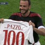 Pazzini celebrating his 100th goal in Serie A! Il Pazzo http://t.co/iKDvZctn5E