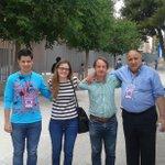 #Eleccion2015 #Jumilla #Murcia Con la candidata Almudena Abellán y los 2 franciscos, apoderados de @podemosmurcia http://t.co/b3SLdlLje6