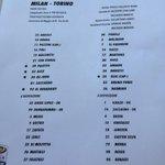 #MilanTorino la distinta ufficiale: nel #Toro tutto come previsto, nel #Milan Cerci in panchina, torna El Shaarawy http://t.co/sBF1N1n0aA