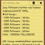 *followers murah*  bukti konsumen silakan cek fav ya  bisa via pulsa  list harga cek foto, minat? invite 52BE62CF :) http://t.co/BiXDaYqhwO