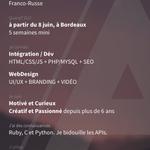 Je cherche un #stage sur #Bordeaux à partir de début #juin dans le domaine du #web ! cc @mmibdx @philippemetayer http://t.co/M0xhbgjJET