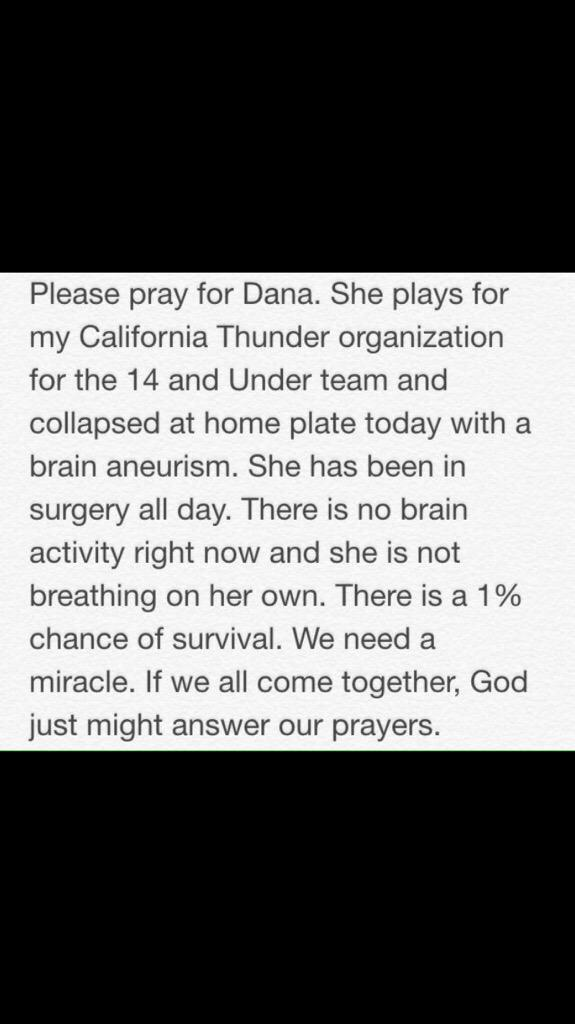 Softball family I ask that you pray for my little sisters friend! http://t.co/BoNrh9hJLa