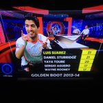 Last season MotD decided to give Suarez lots of praise for his Golden Boot award. Nothing for Aguero... #mcfc #motd http://t.co/RfxZdyZfvw