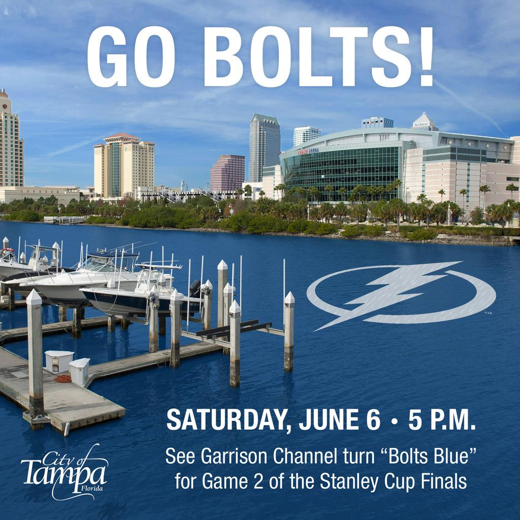 "Stop by Cotanchobee Park before Game 2 tonight  & see the channel flow ""Bolts Blue""! http://t.co/mAQVf8AU86"