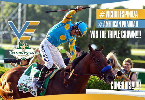 Congrats #VictorEspinoza and #AmericanPharoah on winning the #TripleCrown!!
