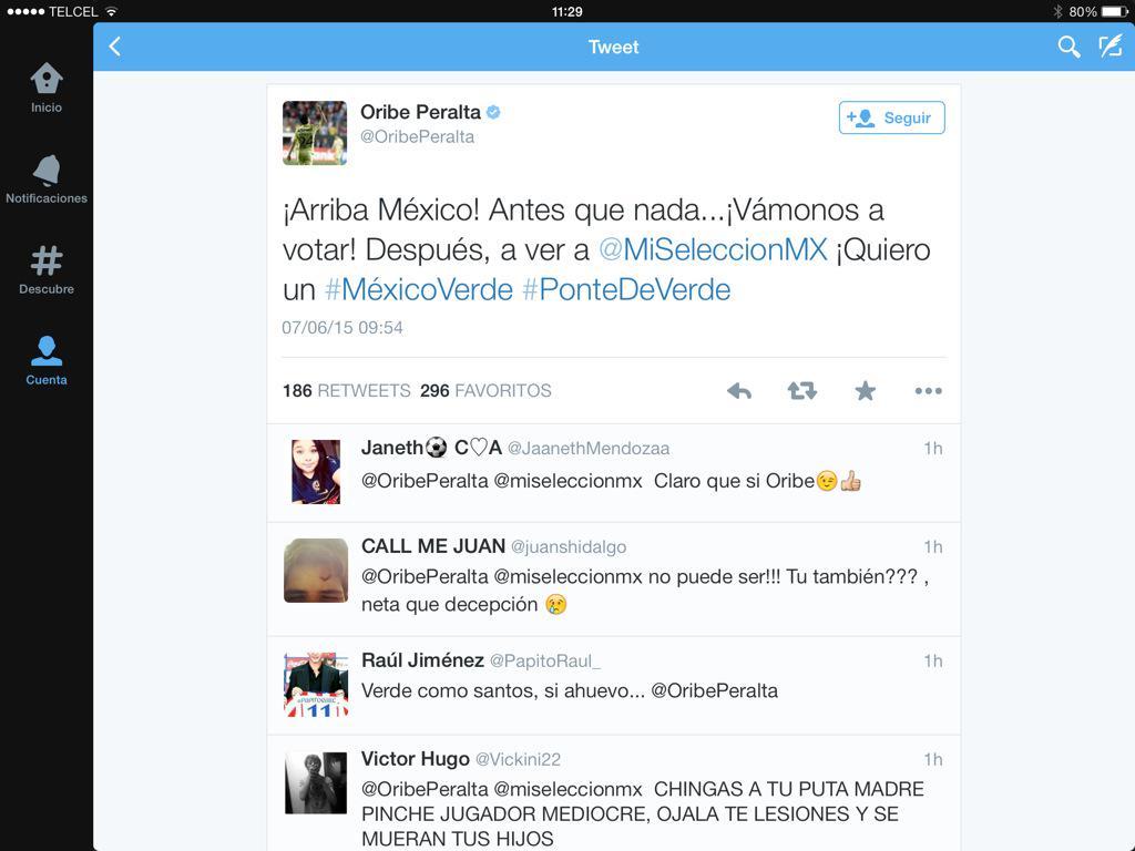 De mal gusto los tuits del @OribePeralta y @MiguelHerreraDT , no creen? Ellos representan a todo el país http://t.co/v4CnCvOkK4
