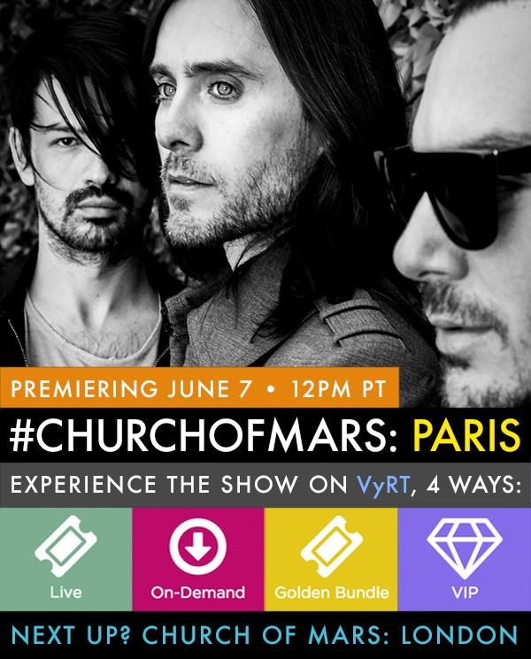 RT @VyRT: Will YOU join @30SECONDSTOMARS today for #ChurchOfMars: Paris? Unlock access right here: http://t.co/aAE4pPaekO http://t.co/HYzdK…