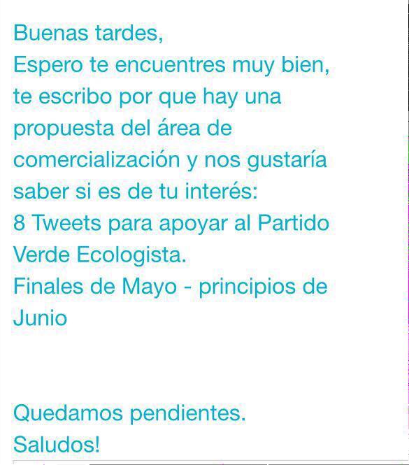 Miren qué chulada. @cmx_mexico mandó este correo a los actores y modelos que representa en apoyo al @partidoverdemex http://t.co/F2JSvIhNmQ