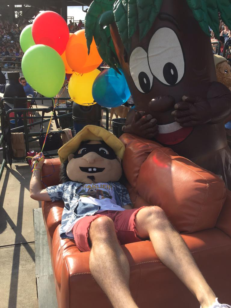 Happy bday Charlie! This boy is partied out - let's have some tacos @ChasRiverDogs #chs #riverdogs http://t.co/zyXUzXMq8F