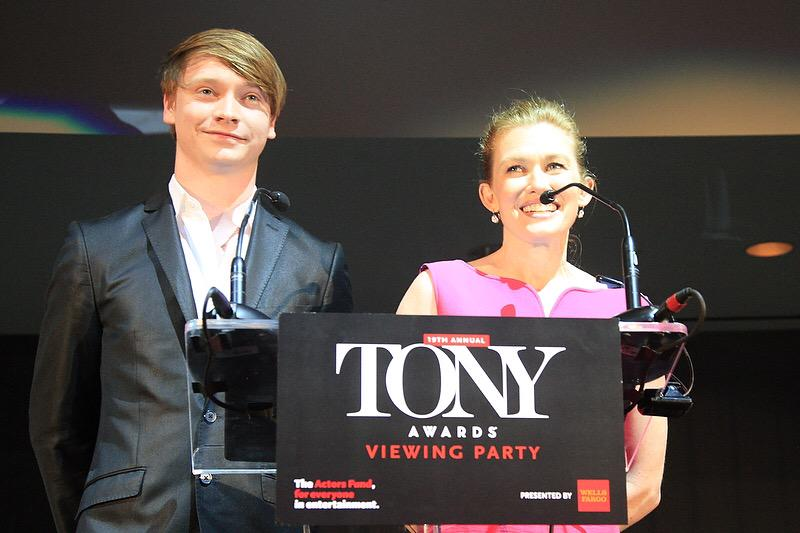 Thank you so much @CalumWorthy & Mireille Enos for being part of #ActorsFundLA #TonyParty2015! #Tonys2015 #TonyAwards http://t.co/ialCwAuVim