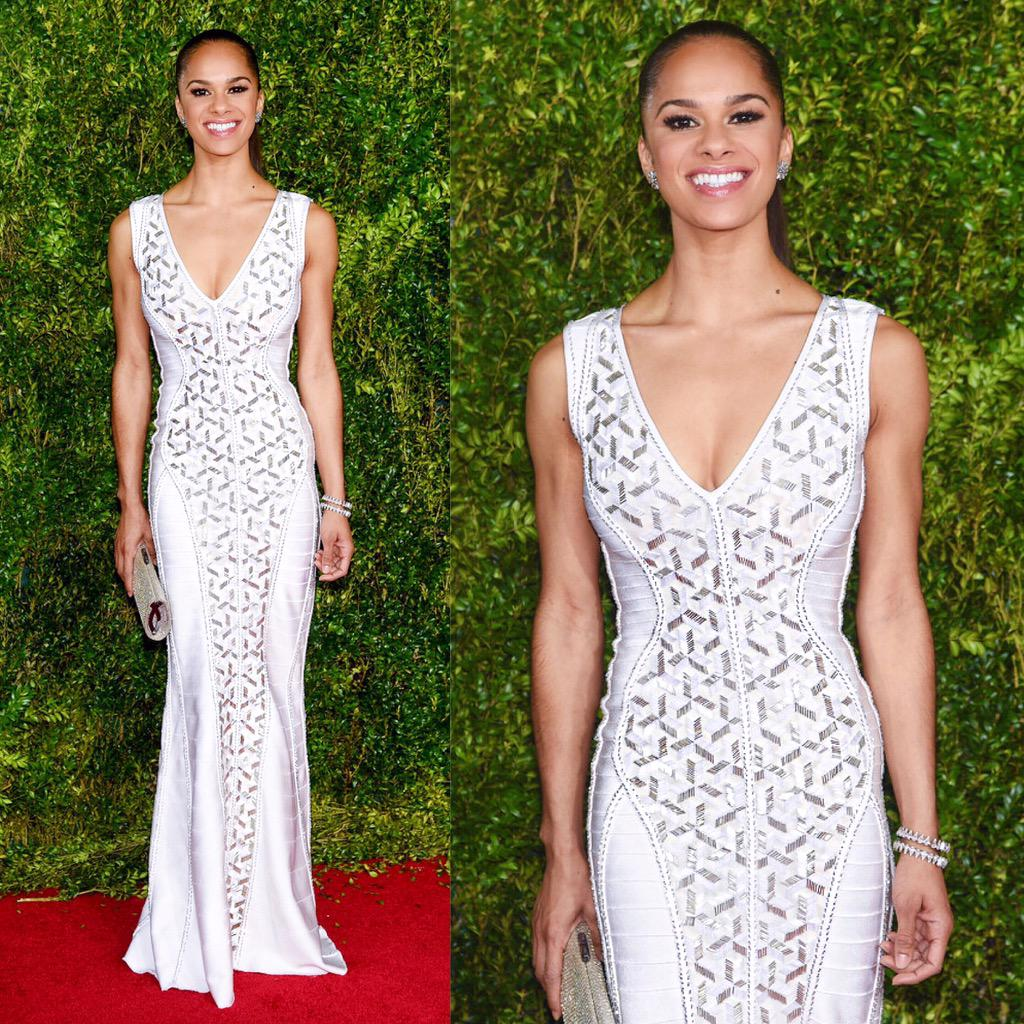 "All eyes on #MistyCopeland [@mistyonpointe] tonight @TheTonyAwards, she's wearing the #HerveLeger ""Evangeline"" gown. http://t.co/tcNh306cGK"