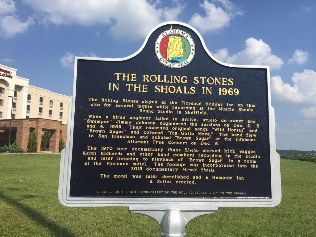 New historical marker in Florence, #Alabama commemorates @RollingStones recording in the #shoalsarea. #music http://t.co/t1M2JVwPdW