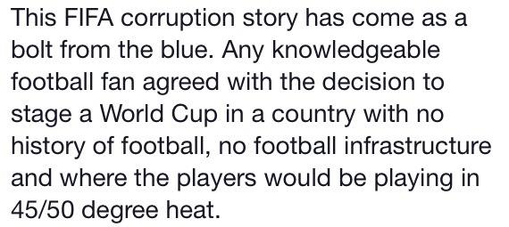 From my pal Ian via Facebook. #FIFAgate #FIFACorruption http://t.co/V2b0bvxcyL