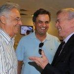 Foto histórica: o que comprou reeleição e quebrou o Brasil 3 vezes; o que quebrou Minas, e o único que está preso. http://t.co/dTW67cIgZH
