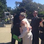 Pro tem @kdeleon greets CARB chair @MaryNicholsCA at event crushing a familys old pickup and giving them a Prius http://t.co/JViSj1tLMN