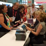 Action shot of @katemwhite signing copies of THE WRONG MAN at booth #2657, with Karin Slaughter on her right! #BEA15 http://t.co/CJTeP8WSuU