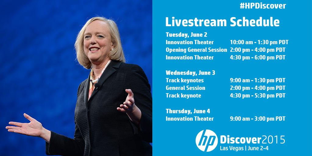 Watch #HP CEO @MegWhitman's opening General Session on 6/2 LIVE: http://t.co/EClSDmSnj6 #HPDiscover http://t.co/jeMQAtJVtx