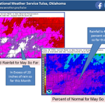 Rainfall for May is 200-600 percent above normal across E OK & W AR. SE OK is the hardest hit area. #okwx #arwx http://t.co/vbFAuHInIQ