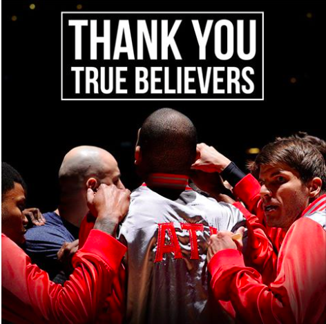 A sincere and heartfelt thank you. You all were amazing this year. #truetoatlanta #ATL photo from @ATLHawks. http://t.co/ZnDKUgGmpI