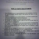 """Médicos del Hosp. San Juan de Dios piden renuncia del ministro de salud y viceministros """"por incapaces y mentirosos"""" http://t.co/HafDmcwyU6"""""""
