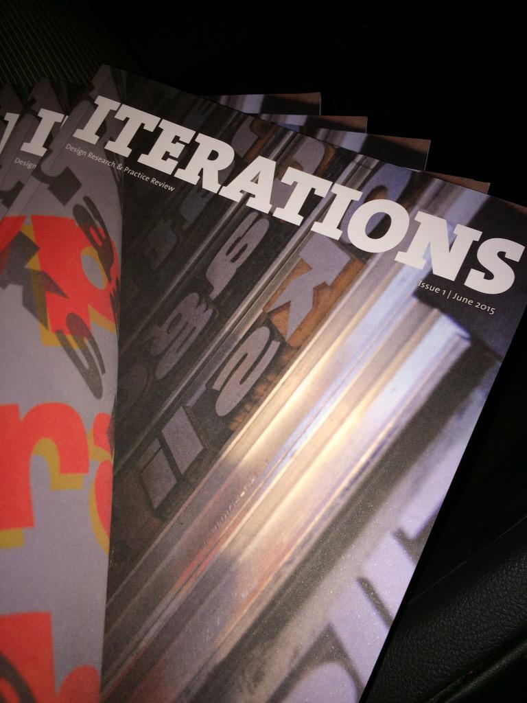 Hot off the press, the first issue of @iterations_. Cover image by @TheSalvagePress. #id2015 @irishdesign2015 http://t.co/J3xDseUExF