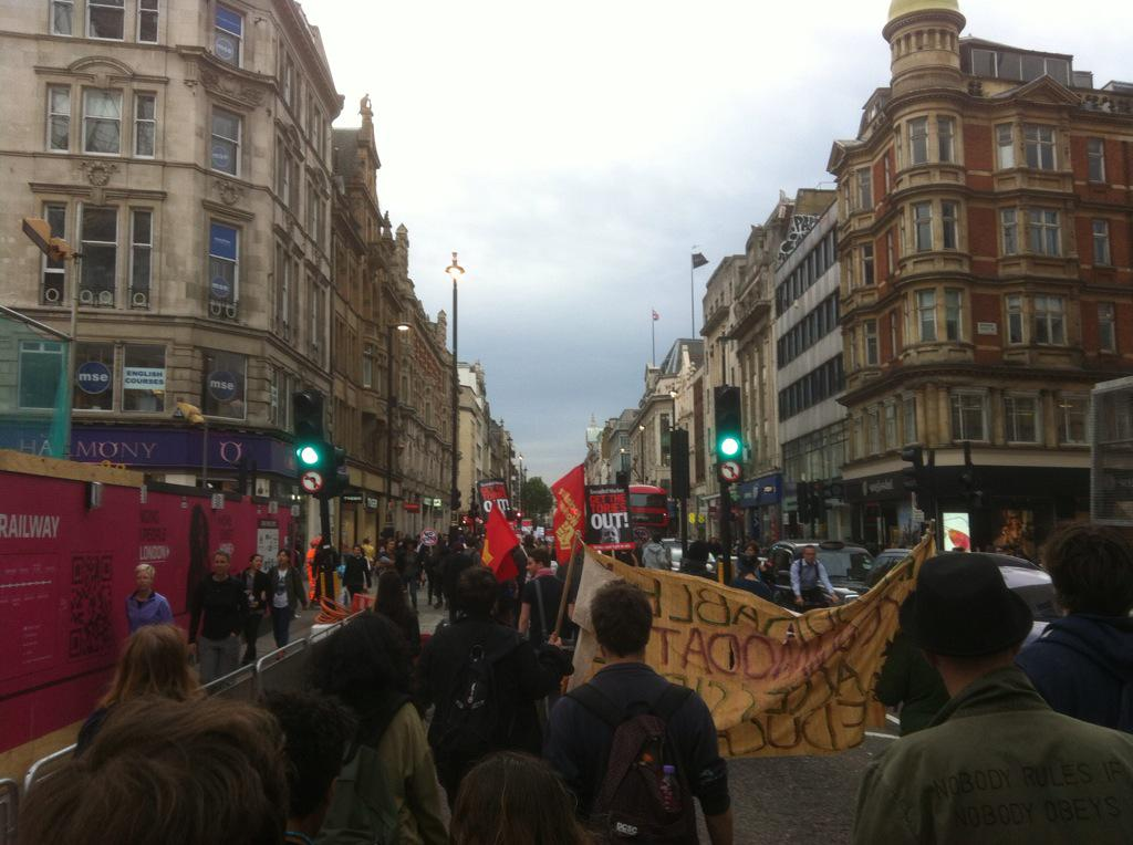 """R @DominicHurst Protesters now in Oxford St chanting """"Tories Out"""" #QueensSpeech http://t.co/4oitx3PQ9a"""