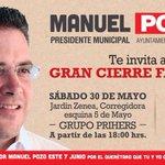 Nos vemos en el Jardín Zenea este sábado a las 6:00 pm, todos apoyar a @Manuel_Pozo #PozoPresidente http://t.co/t1WSeeqlOM