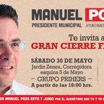 Los invito al cierre de campaña este sábado 30 de mayo a partir de las 18:00 Hrs en el Jardín Zenea #QuerétaroHumano http://t.co/JPUTwyIMrn