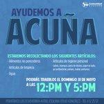 ¡Ayudemos a nuestros hermanos de #Acuña! Trae algún alimento no precedero, artículos de limpieza, agua, etc. http://t.co/wcPux2vNGl