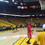 Trevor Ariza is the lone splash of red in a pregame sea of yellow. Rockets-Warriors Game 5 tips at 9 ET on ESPN. http://t.co/5ITqQ9v51W